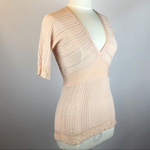 Anthro Guinevere Lacework Sweater Pink S